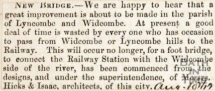 Newspaper cutting. Newbridge, Widcombe. August 1862.