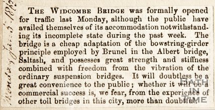 Newspaper cutting. Newbridge, Widcombe. January 5 1863.