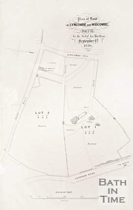 Plan of land in Widcombe and Lyncombe in Bath to be sold by auction September 4th 1856.
