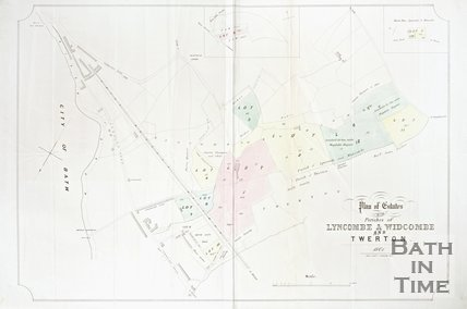 Plan of estates in Lyncombe, Widcombe and Twerton, 1861.