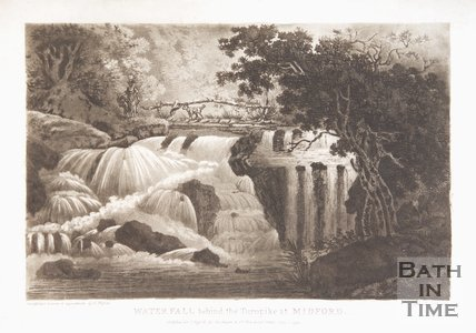 Waterfall behind the turnpike at Midford. By J. Hassell, 1793.