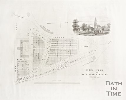 Index Plan of the Bath Abbey Cemetery Lyncombe Vale, 1850.
