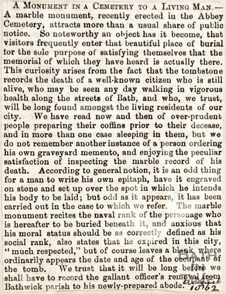 August 1862. Curious tale of a tombstone for someone who is still alive.