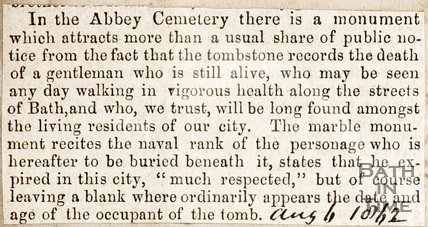 Newspaper article. August 1862. Curious tale of a tombstone for someone who is still alive.
