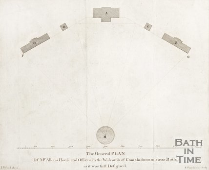 General Plan of Mr Allens House and Offices in Widcombe of Camalodunum
