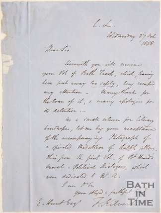 1858. Handwritten letter. To E. Hunt from Kilvert.