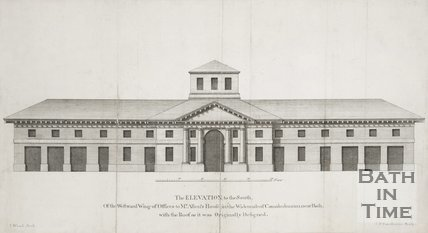 The Elevation to the South, Of the Westward Wing of Offices to Mr Allens House, in the Widcombe of Camalodunum, near Bath with the Roof as it was Originally Designed 1749