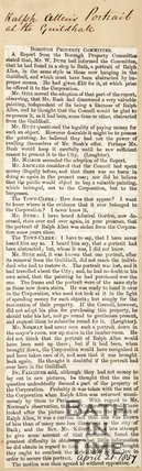 Newspaper article. April 21 1857. Borough property committee.