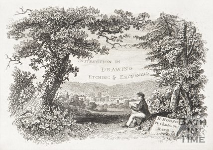 Instruction in drawing and etching and engraving. Trade card by H. Hobson