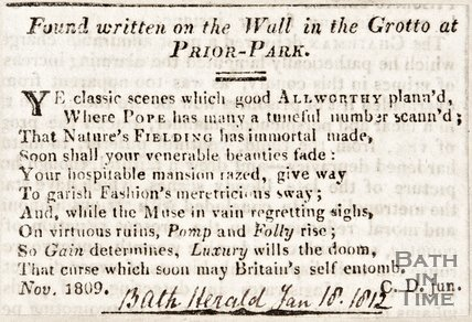 Bath Herald. January 18 1812. Poem found written on the wall in the grotto at Prior Park.
