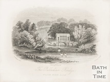 The Palladian Bridge, Prior Park, Bath, 1850.
