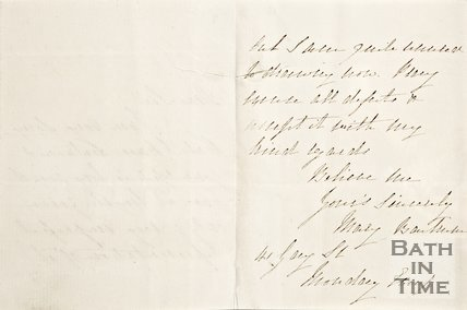 Letter from Mary ? Of 41, Gay Street verso