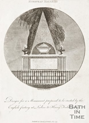 European Magazine. July 1793. Designed from monument to Henry Fielding.