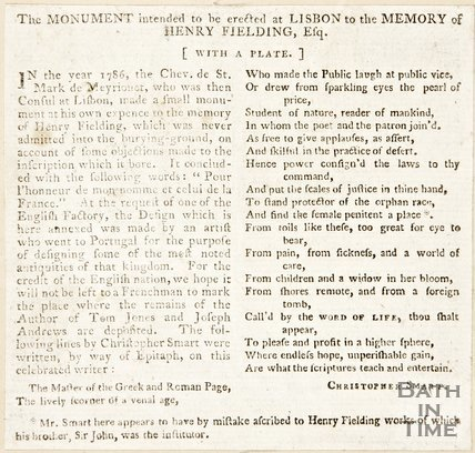 Newspaper article concerning the monument for Henry Fielding, 1786.