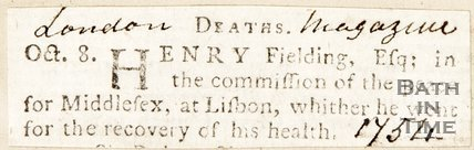 Announcement of Henry Fieldings death, 1754.