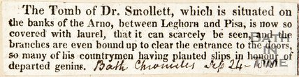 Bath Chronicle. September 24 1818. The Tomb of Dr. Smollett.