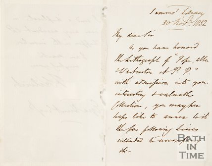 Letter from Kilvert to Ezra Hunt, 1852.