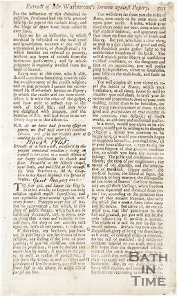 Extract of Mr Warburtons sermon against popery, November 1745