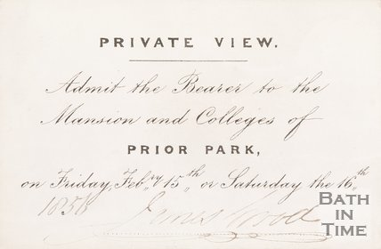 Ticket for the private view of Prior Park, 1856.