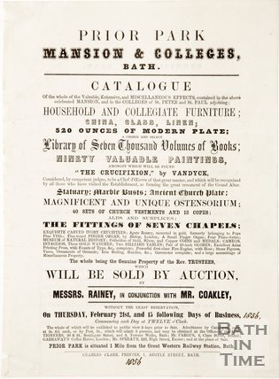 Poster advertising auction sale of items from Prior Park. February 1856.
