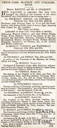 Newspaper cutting concerning the auction of the contents of Prior Park, 1856.