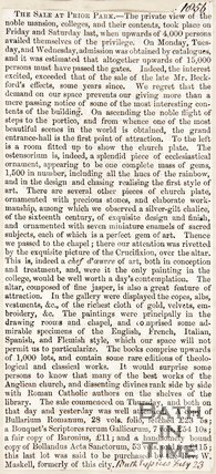 Newspaper article reviewing the sale at Prior Park, 1856