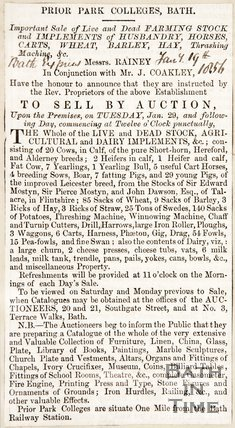 Newspaper article concerning the sale of farm stock at Prior Park Colleges, 1856