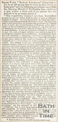Newspaper article Prior Park Roman Catholic College
