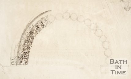 Pencil and ink sketch of an archway, possibly from Prior Park College.