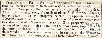 Newspaper article. Purchase of Prior Park. January 1850