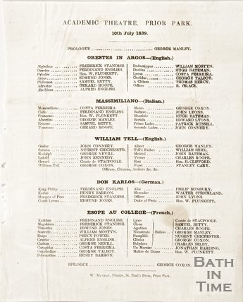 A list of plays run at the academic theatre at Prior Park, 10th July 1839.