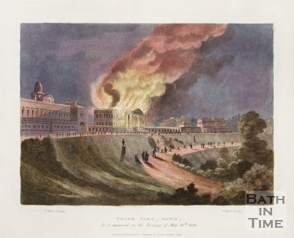 Prior Park on fire. As it appeared on the Evening of May 30th 1836