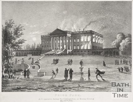 Prior Park. As it appeared during the Conflagration on Monday Evening May 30th 1836