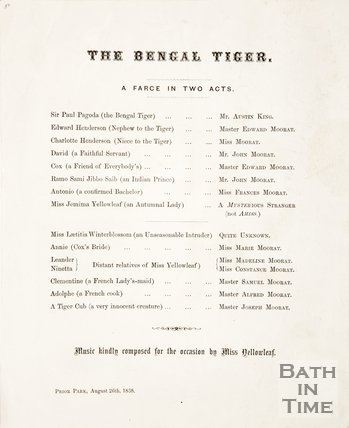 A playbill for The Bengal Tiger at Prior Park. August 26th 1868