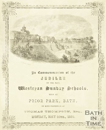 Leaflet from the jubilee of the Wesleyan Sunday School held at Prior Park. May 28th 1860.