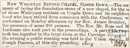 Newspaper article. New Wesleyan Reformed Chapel Combe Down. August 1854.