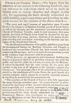 Newspaper article. Church on Combe Down. May 21st 1835.