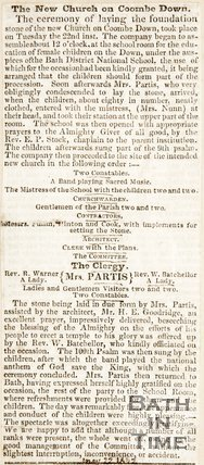 Newspaper article. The new church in Combe Down. May 22nd 1835.