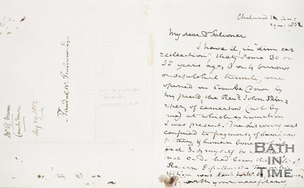 Handwritten letter from Richard Warner to Rev. W. Falkenar. August 9th 1853.