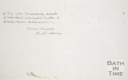 Handwritten letter from Richard Warner to Rev. W. Falkenar. August 9th 1853. verso