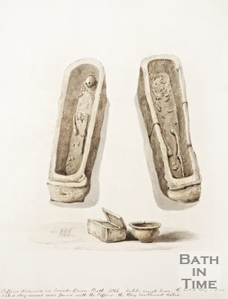 Drawings of two coffins discovered at Combe Down, 1856.