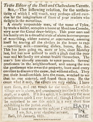 Newspaper article. Letter to editor of the Bath and Cheltenham Gazette. Reporting the spirit in Combe Down. Jan 7th 1821.