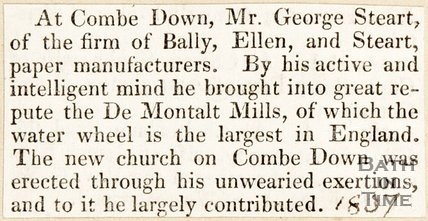 Newspaper article. De Montalt Mills Bath, 1837.