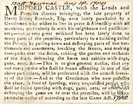Newspaper article. Midford Castle, 1780