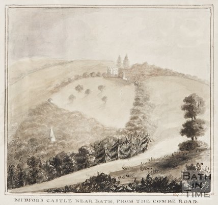 Midford Castle, near Bath, from the Combe Road 1850