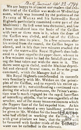 Newspaper article. Caisson lock at Combe Hay. April 22nd 1799.