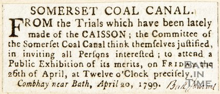 Newspaper article. Somersetshire coal canal. April 20th 1799.