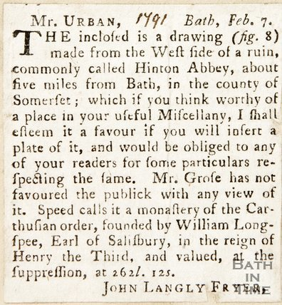 Article about the Priory at Hilton Charterhouse. February 7th 1791.
