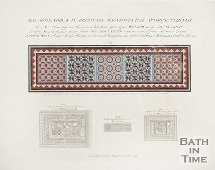 A diagram of the Roman mosaics found in Wellow, 1737.