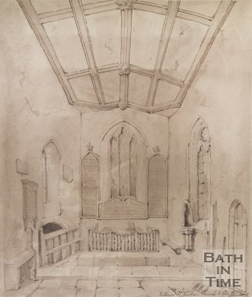 Interior of the chapel at St Julians Church, Wellow c.1850